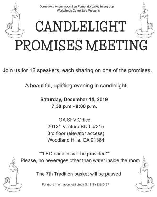 CANDLELIGHT PROMISES MEETING @ OA Intergroup Office