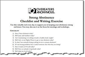 Overeaters Anonymous Strong Abstinence Checklist